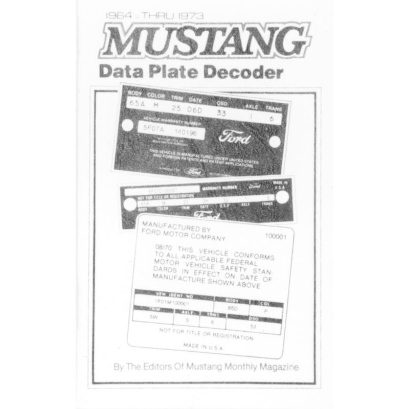 mustang  shelby data plate id decoder