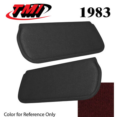 1983 Mustang Cpe & HB Sunvisors, Cloth, Medium Red