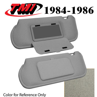 1984-1986 Mustang Sunroof Sunvisors, Optional Cloth, w/Mirrors, Charcoal Gray