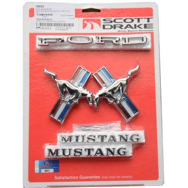 1965-1966 Mustang Emblem Kit, Cpe & Conv, 6 cyl