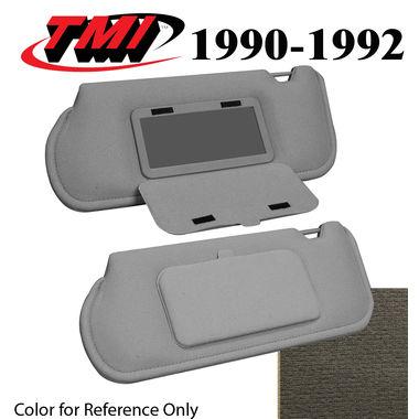 1990-1992 Mustang Sunroof Sunvisors, Optional Cloth, w/Mirrors, Titanium Gray