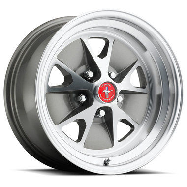 1965-1973 Mustang Legendary Styled Alloy Wheel, 15 X 7, Charcoal, Machined