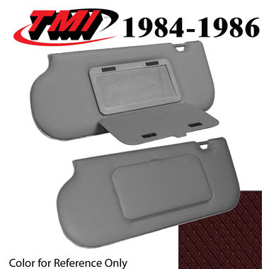 1985-1986 Mustang Sunroof & T-Top Sunvisors, Vinyl, w/Mirrors, Canyon Red; 1993, Ruby Red