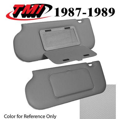 1987-1989 Mustang Sunroof & T-Top Sunvisors, Vinyl, w/Mirrors, Med Smoke Gray; 1990-1992, Titanium Gray; 1993, Opal Gray