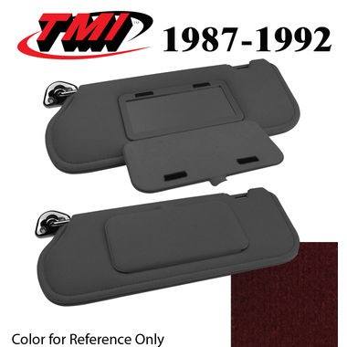 1987-1992 Mustang Cpe & HB Sunvisors, Cloth, w/Mirrors, Scarlet Red