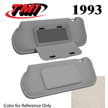 1993 Mustang Sunroof Sunvisors, Optional Cloth, w/Mirrors, Opal Gray