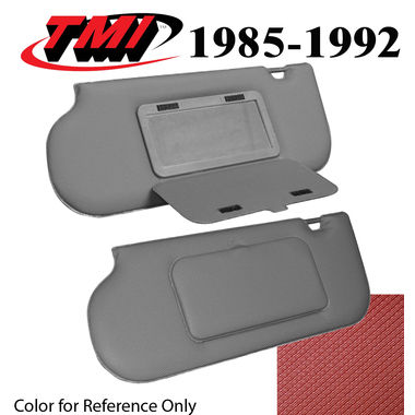 1987-1992 Mustang Sunroof & T-Top Sunvisors, Vinyl, w/Mirrors, Scarlet Red