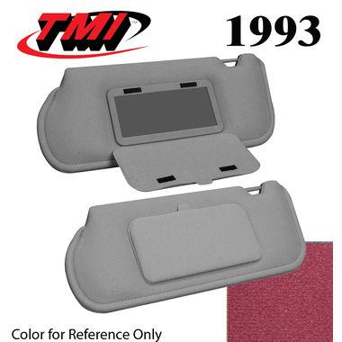 1993 Mustang Sunroof Sunvisors, Optional Cloth, w/Mirrors, Dark Ruby