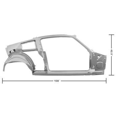 1967-1968 Mustang Dynacorn Door / Quarter Frame Assembly, FB, RH, Weld Thru Primer