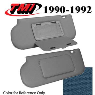 1990-1992 Mustang Sunroof & T-Top Sunvisors, Vinyl, w/Mirrors, Crystal Blue