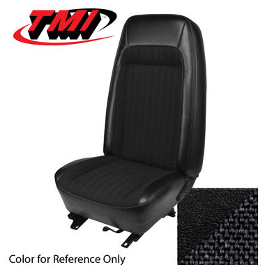 1979-1980 Mustang HB Std Low Back Seat Upholstery- Cloth & Vinyl, Black
