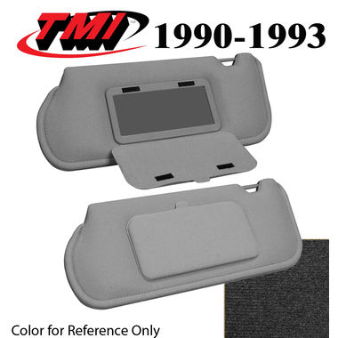 1990-1993 Mustang Sunroof Sunvisors, Optional Cloth, w/Mirrors, Ebony