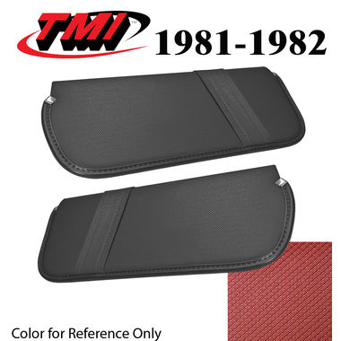 1981-1982 Mustang Cpe & HB Sunvisors, Vinyl, Medium Red