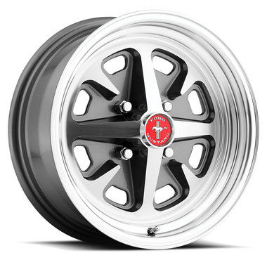 1965-1968 Mustang Legendary Magnum 400 Alloy Wheel, 15 X 6, Charcoal, Machined
