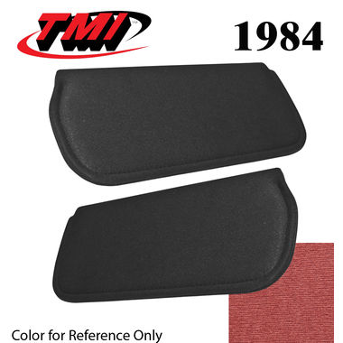 1984 Mustang Cpe & HB Sunvisors, Cloth, Canyon Red