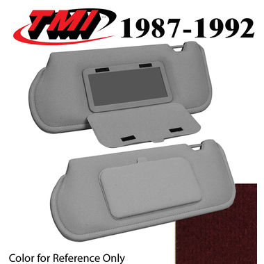 1987-1992 Mustang Sunroof Sunvisors, Optional Cloth, w/Mirrors, Scarlet Red